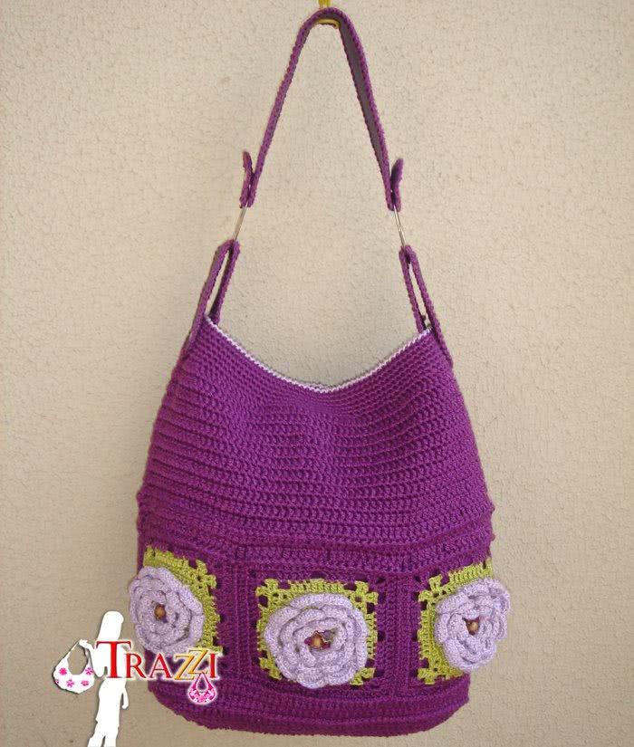 Bolsa em crochê com flores