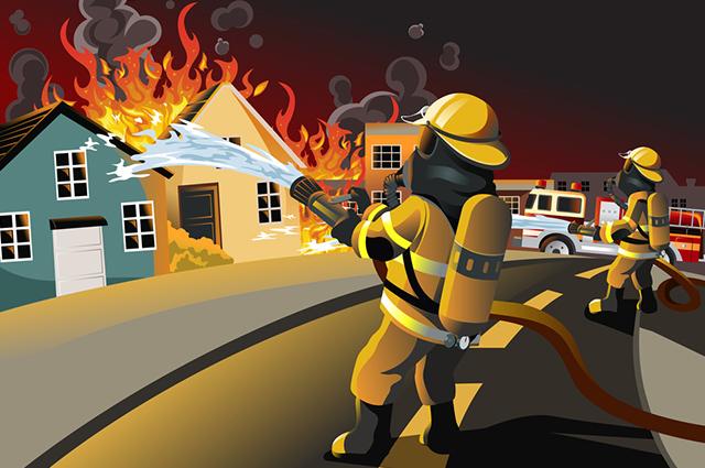 Bombeiro apagando casa em chamas