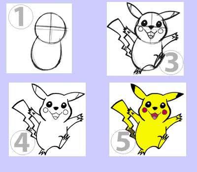Passo a passo de como desenhar Pikachu