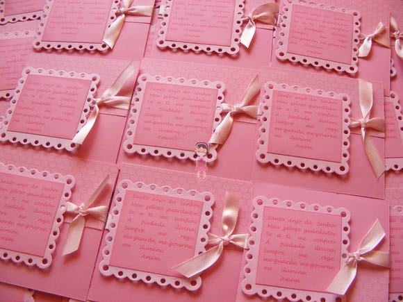 Convite de batizado rosa