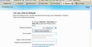 Criar conta hotmail gratuito