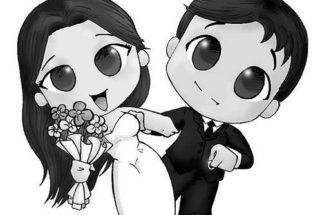 Desenhos de noivinhos para convite de casamento