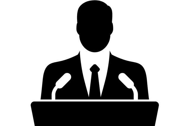 Figura ilustrativa de autoridade discursando em púlpito