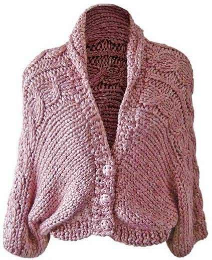 Casaco em tricô rosa