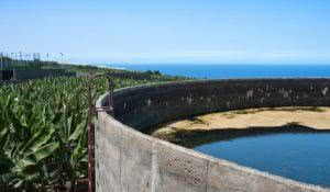 Irrigation basin in banana plantation at La Palma, Canary Islands