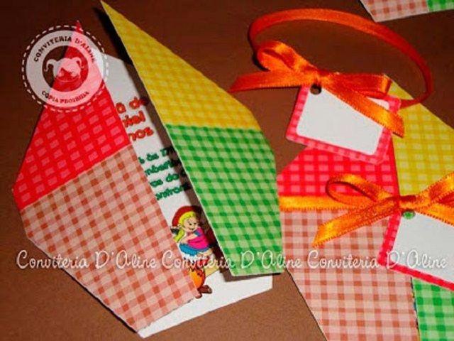 Modelos para fazer convites de aniversario infantil com tema de festa junina
