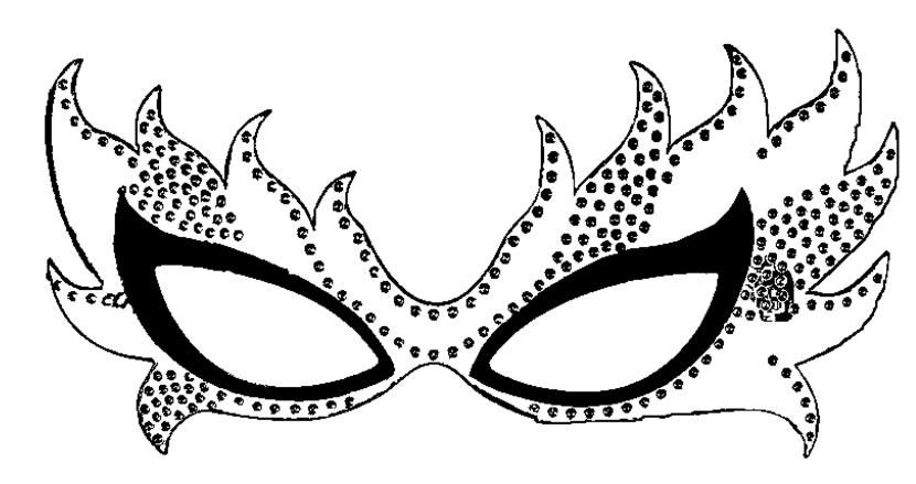 Essa elegante máscara de Carnaval para imprimir merece receber muita cor e criatividade
