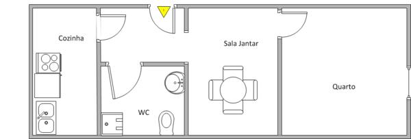 Projeto de casa com um quarto