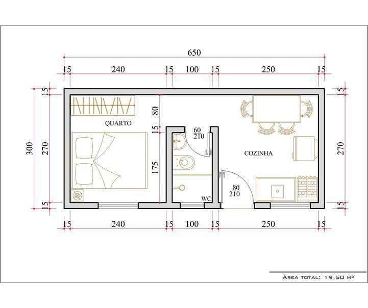 Planta de casa com  quarto