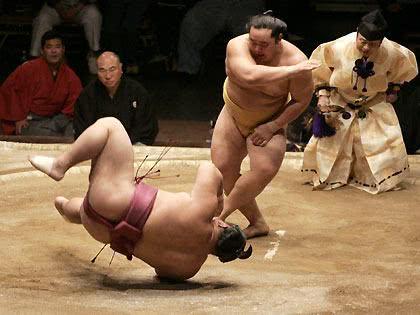 Lutador de sumô caído ao chão