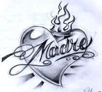 """Desenho de tatuagem com a palavra """"Mãe"""" em espanhol"""