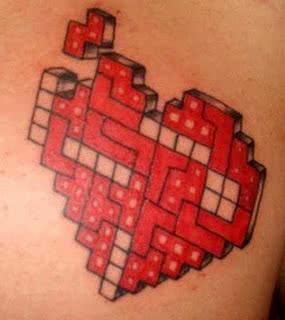 Mais uma criativa, coração em forma de jogo Tetris.