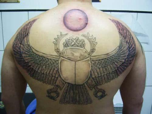 Escaravelho tatuado nas costas