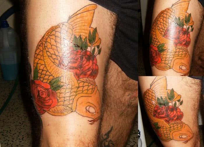 Tatuagem na coxa de carpa