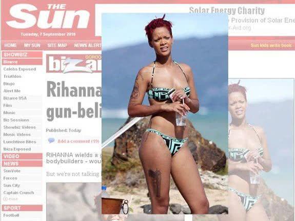 Tatuagem na coxa da Rihanna