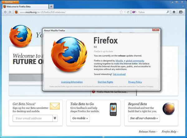 Nova versão do Firefox