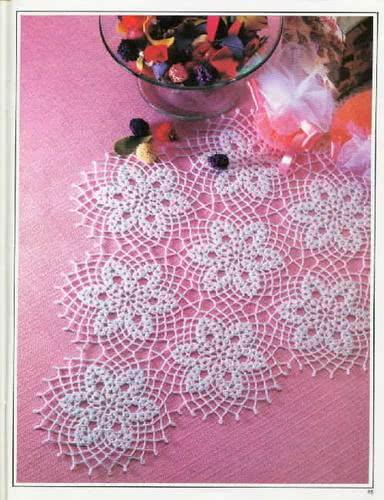 Toalha de mesa crochê flores
