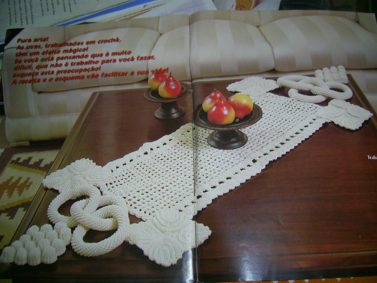 Toalha de mesa crochê uva
