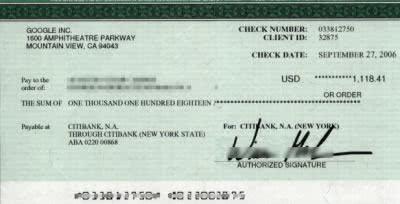 Cheque Adsense